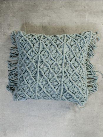 Decorative Pillow Macrame Grey